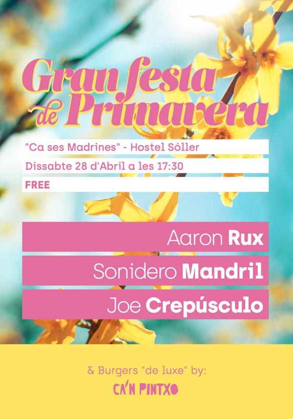 Cartel Gran Fiesta de Primavera - Ca ses Madrines - Hostel Sóller
